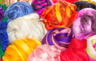 Several bright balls of rough wool balls