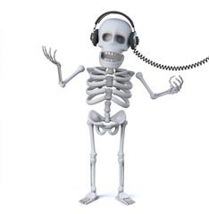 3d Skeleton is listening to music on his headphones