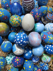 Background with Easter Eggs decorated by children