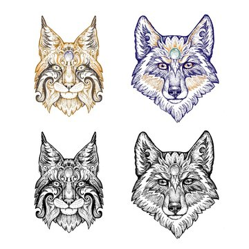 Tattoo, dotwork. Wolf and lynx