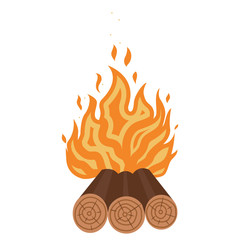 camping fire icon flat
