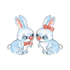 Cartoon rabbits. Watercolor illustration 23