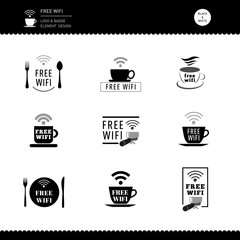 Free Wifi  Set of Logo Badge for Restaurant and Cafe Black and white