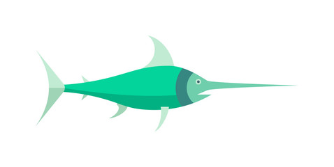 Ocean animal design of saw fish marine character flat vector cartoon illustration.