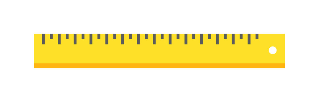 Ruler tool flat icon vector illustration on white background.