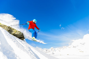 Wall Mural - Skiing, Skier, Freeski, Freestyle, Freeride in fresh powder snow