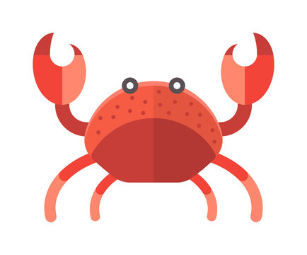 Ocean animal design of cute cartoon crab funny vector illustration