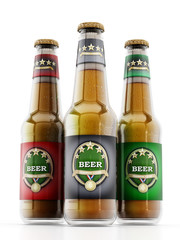 Beer bottles with three different labels