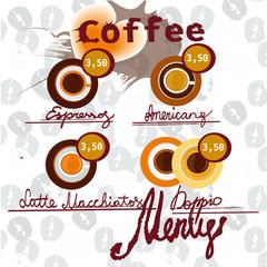 Coffee vector icon set menu for cafe, bar, shop.