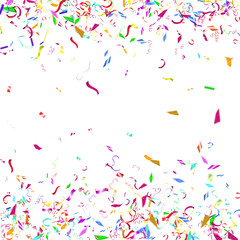 Abstract colorful confetti background. Isolated on the white.