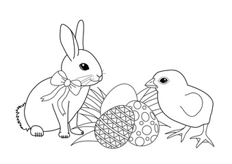 Coloring book - Easter bunny with eggs and chicken