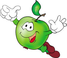 Funny cartoon flying hero green apple.