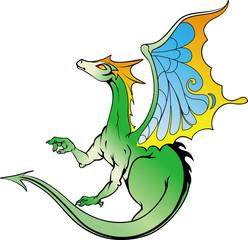 Illustration of a green dragon.