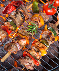 Barbecue grill with tasty skewers.