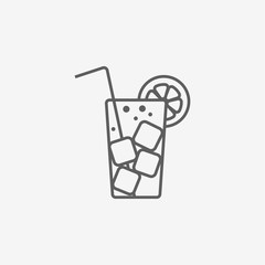 cocktail flat icon with long straw