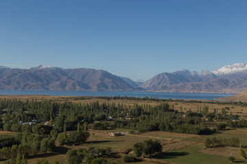 Lake and mountain landscape in Kyrgyzstan