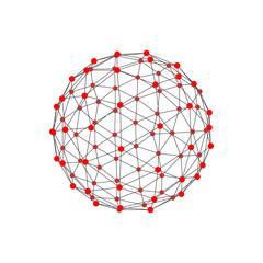 Molecular lattice in the form of a sphere. Vector illustration.
