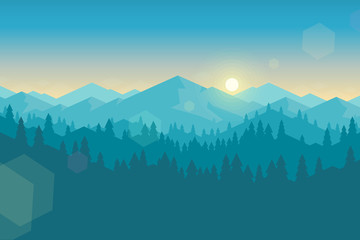 Wall Murals Green blue Vector mountain and forrest landscape early in the morning.