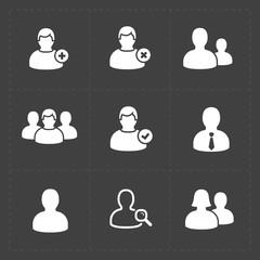 People flat icons set on Black.