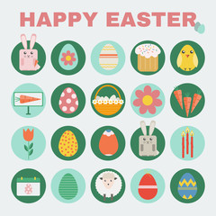 Happy Easter Colorful icon set. Easter Bunny, Easter Basket with Flowers and Eggs. Digital background vector illustration.