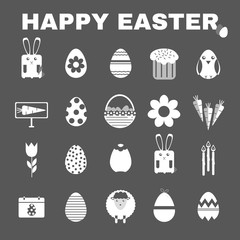 Happy Easter Black and White icon set. Easter Bunny, Easter Basket with Flowers and Eggs. Digital background vector illustration.