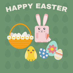Happy Easter Greeting Card. Easter Bunny, Easter Chicken and Easter Basket with Daisies and Eggs. Easter Eggs Texture Green Backdrop. Digital background vector illustration.