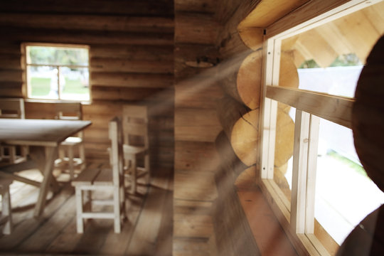 rustic interior wooden house made of logs