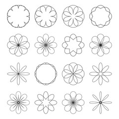 Various abstract geometric symbol set.Vector outline illustratio