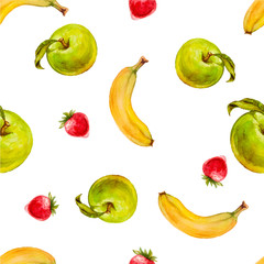 Watercolor seamless pattern with green apples, strawberries and bananas. Hand drawn tropical design. Vector summer fruit illustration.
