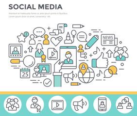 Social media, communication concept illustration, thin line flat design