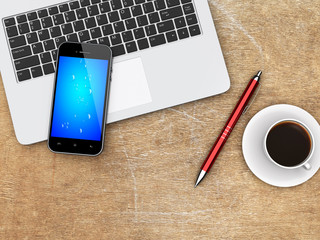 Laptop, smartphone and coffee on a desk