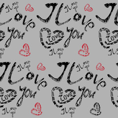 seamless pattern, heart,  text I love you