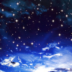 Bright stars in the blue cloudy sky