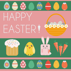 Happy Easter Greeting Card. Easter Bunny, Easter Basket with Eggs. Happy Easter icon set. Digital background vector illustration.