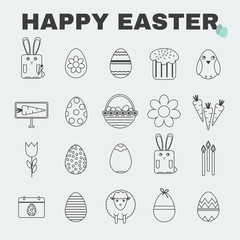 Happy Easter Black and White icon set. Easter Bunny, Easter Basket with Eggs. Kids Coloring Book Digital vector illustration.