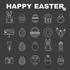 Happy Easter Black and White icon set. Easter Bunny, Easter Basket with Eggs. Digital background vector illustration.