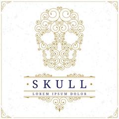 Skull logo template  in retro vintage style