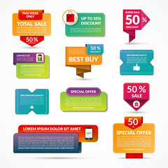 Set of sale vector banners, labels, tags