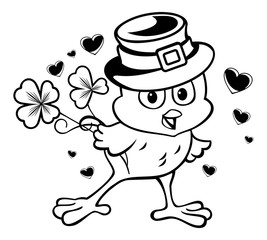 Funny chicken in the leprechaun hat. Vector clip art.