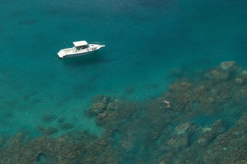 Overhead view of two people snorkeling, Maui, Hawaii, America, USA