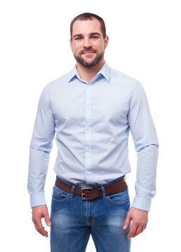 Man in blue shirt isolated on white