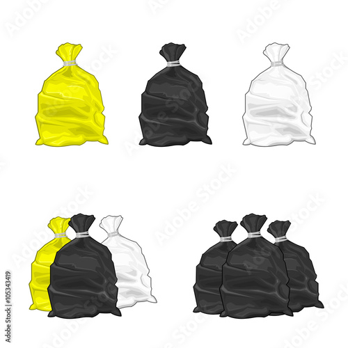 """Vector illustration icon of plastic Garbage Bags. Generic ..."
