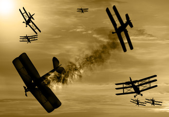 World War 1 aircraft scene