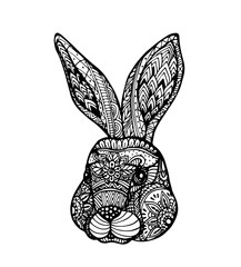 Vector Head of Rabbit in zentangle style