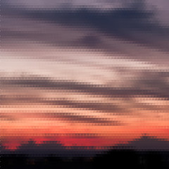 Retro sunset pattern of geometric shapes