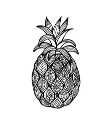 Vector of Pineapple in zentangle style