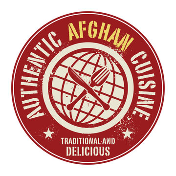 Abstract stamp or label with the text Authentic Afghan Cuisine