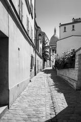 Montmartre in summer in black and white, Rue Saint Rustique, Par