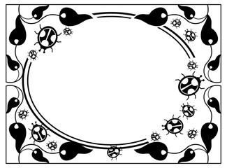 Contour round frame with ladybugs silhouettes.
