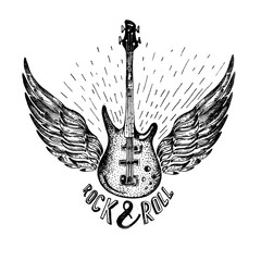 vintage vector label with rock and roll forever , guitar